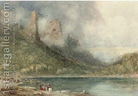 Ferry on the Wye at Longstone, Derbyshire by David Cox - Reproduction Oil Painting
