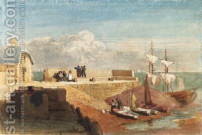 Figures by a harbour wall with boats moored in the foreground by David Cox - Reproduction Oil Painting