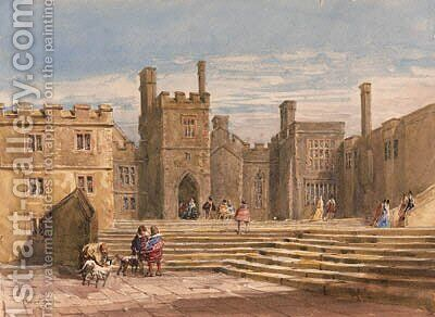 Figures in historical costume before Haddon Hall, Derbyshire by David Cox - Reproduction Oil Painting