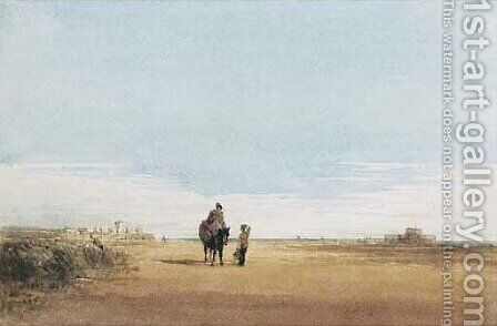 Figures on a beach near Rye, Sussex by David Cox - Reproduction Oil Painting