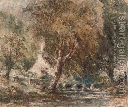 Figures on the banks of a river in a wooded landscape by David Cox - Reproduction Oil Painting