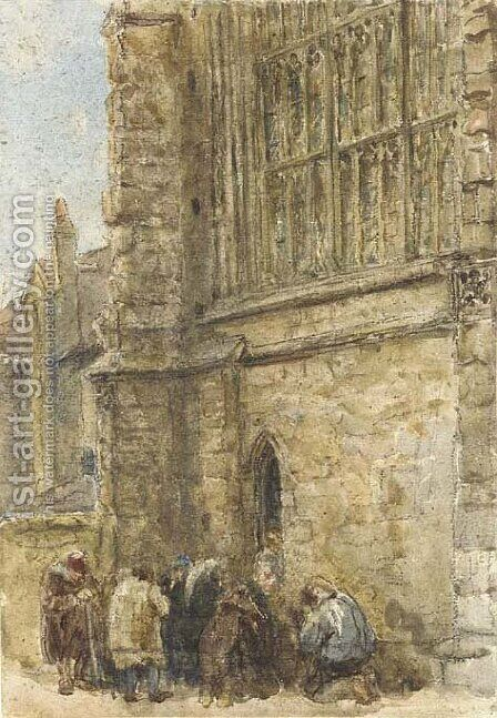 Figures receiving alms at the church door by David Cox - Reproduction Oil Painting