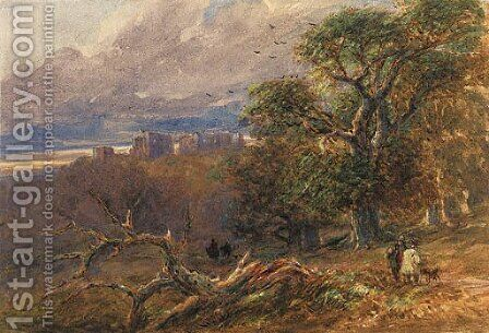 Hardwick Hall, Derbyshire at evening by David Cox - Reproduction Oil Painting