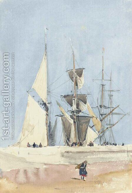 Sailing vessels preparing for sea, Dieppe, France by David Cox - Reproduction Oil Painting