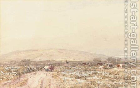 Travellers on a moorland track by David Cox - Reproduction Oil Painting