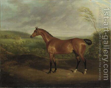 Cock Robin, a chestnut hunter in a wooded landscape with a mansion beyond by David of York Dalby - Reproduction Oil Painting