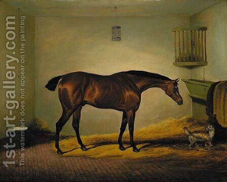 President, a bay hunter with a dog in a stable by David of York Dalby - Reproduction Oil Painting