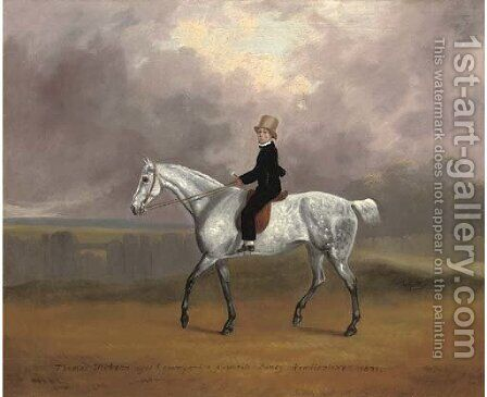 Thomas Dicksan, aged 8, on his favourite pony Wendlestone, in a landscape by David of York Dalby - Reproduction Oil Painting