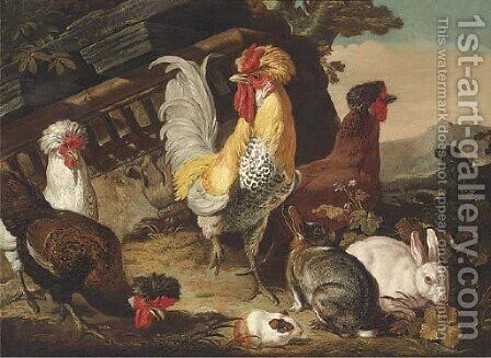 Chickens, rabbits and a guinea-pig by classical ruins by David de Coninck - Reproduction Oil Painting