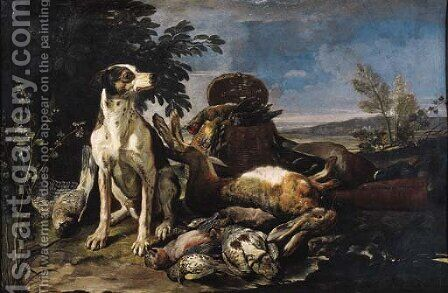 A hound guarding dead game at the edge of a wood by David de Coninck - Reproduction Oil Painting