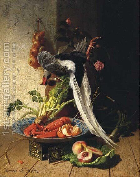 A kitchen still life with a pheasant, a lobster, various fruits and vegetables by David Emil Joseph de Noter - Reproduction Oil Painting
