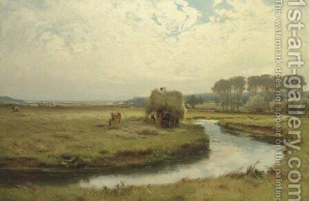 Haymaking, Seaton Marsh, Devon by David Farquharson - Reproduction Oil Painting