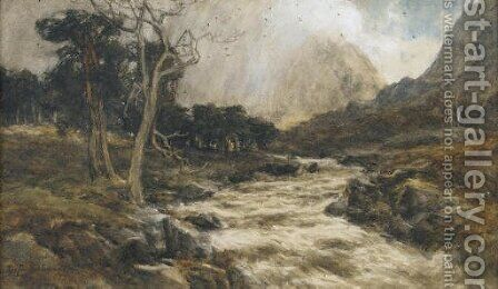 A rushing stream by David Farquharson - Reproduction Oil Painting