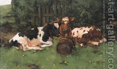 Ayrshire Calves 2 by David Gauld - Reproduction Oil Painting