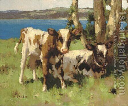 Calves in a meadow by David Gauld - Reproduction Oil Painting