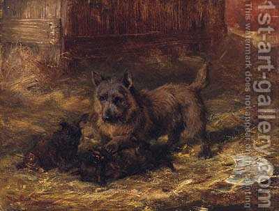 Puppies Playing by David George Steell - Reproduction Oil Painting