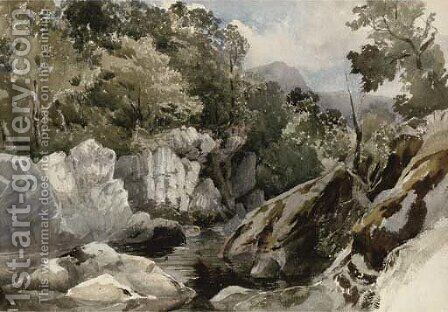 A Welsh mountain stream by David Hall McKewan - Reproduction Oil Painting