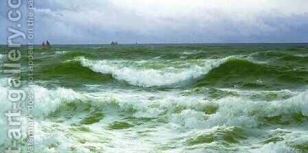 A flowing sea by David James - Reproduction Oil Painting