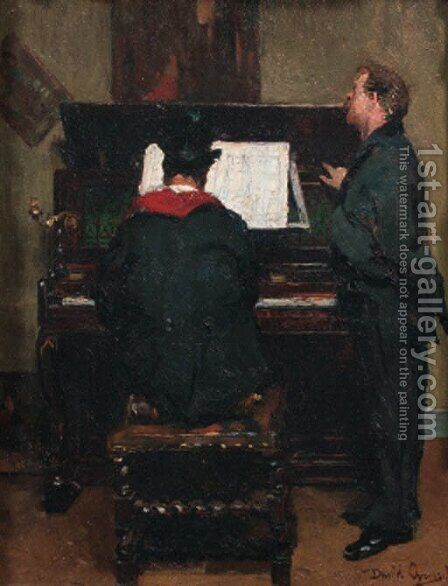 Le peintre musicien by David Oyens - Reproduction Oil Painting