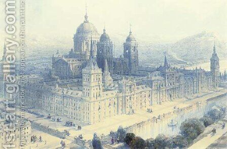 The Palace of the Escorial, near Madrid, Spain by David Roberts - Reproduction Oil Painting