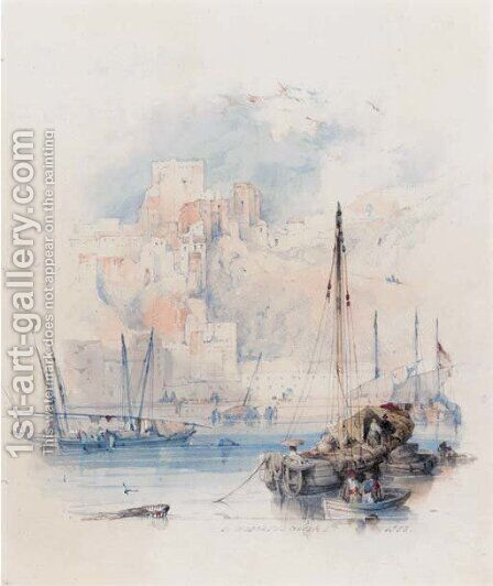 A harbour in Andalucia by David Roberts - Reproduction Oil Painting