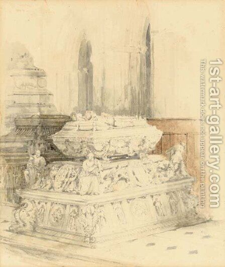 A medieval tomb in a cathedral interior by David Roberts - Reproduction Oil Painting