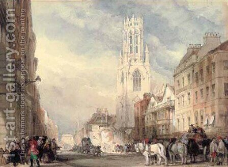 St Dunstan's in the West, Fleet Street, London by David Roberts - Reproduction Oil Painting