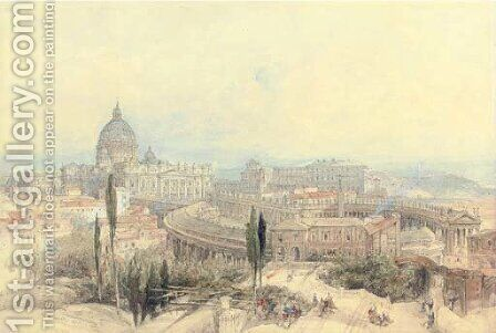 St Peter's from the Janiculum Hill, Rome, Italy by David Roberts - Reproduction Oil Painting