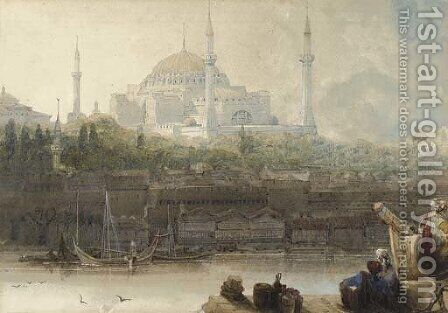 St. Sophia, Constantinople, from the Bosphoros by David Roberts - Reproduction Oil Painting