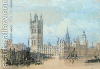 The Houses of Parliament, Westminster by David Roberts - Reproduction Oil Painting