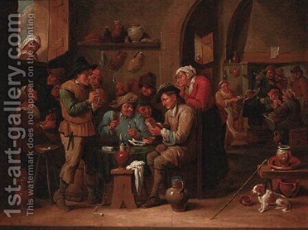 Peasants playing cards in a tavern interior by David The Younger Ryckaert - Reproduction Oil Painting