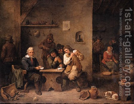 A boor showing his cards to his opponent with onlookers in a tavern, a maid frying pancakes beyond by David III Teniers - Reproduction Oil Painting