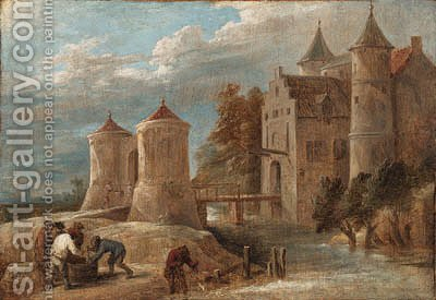 A landscape with fishermen before a castle with a drawbridge by David III Teniers - Reproduction Oil Painting