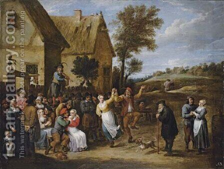 A village inn with peasants dancing and making merry to the music of a fiddler by David III Teniers - Reproduction Oil Painting