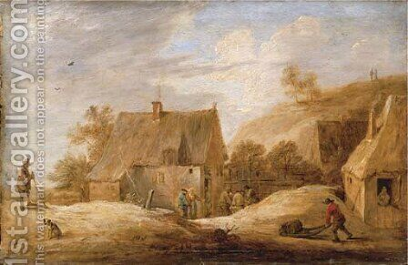 A village landscape with peasants outside a cottage and a traveller on a path by David III Teniers - Reproduction Oil Painting