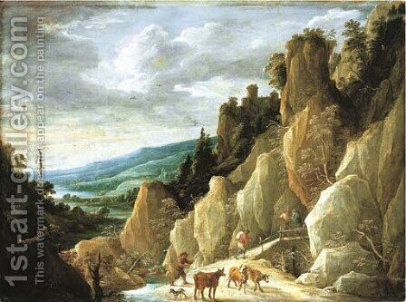 An extensive landscape with a herdsman and cattle and travellers crossing a bridge by David III Teniers - Reproduction Oil Painting