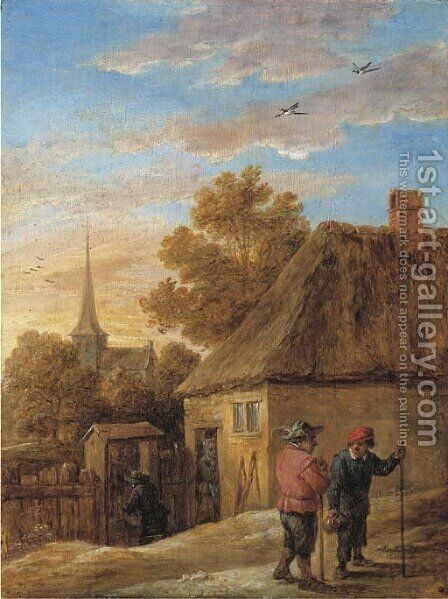 Peasants conversing by a house with a church beyond by David III Teniers - Reproduction Oil Painting