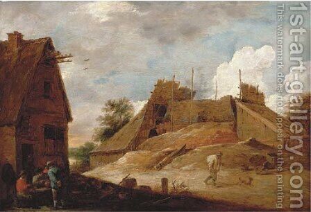 Peasants outside an inn with a lime kiln beyond by David III Teniers - Reproduction Oil Painting