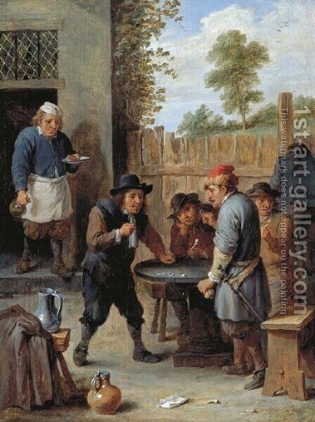 Peasants playing dice outside an inn by David III Teniers - Reproduction Oil Painting