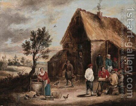 Peasants smoking and a Woman drawing Water from a Well outside a Tavern by David The Younger Teniers - Reproduction Oil Painting