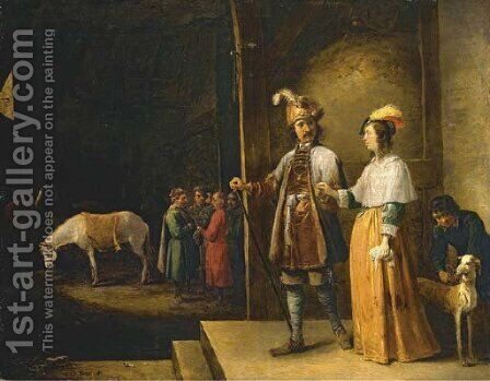 A lady and gentleman entering a stable by David The Younger Teniers - Reproduction Oil Painting