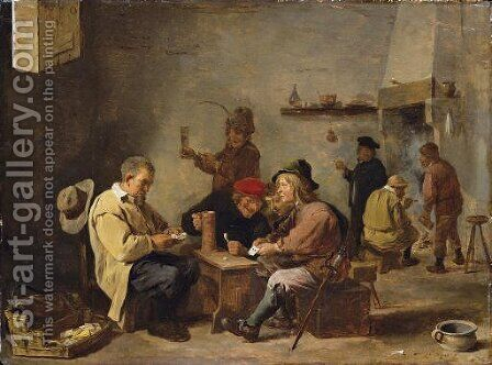 Card players in an inn by David The Younger Teniers - Reproduction Oil Painting