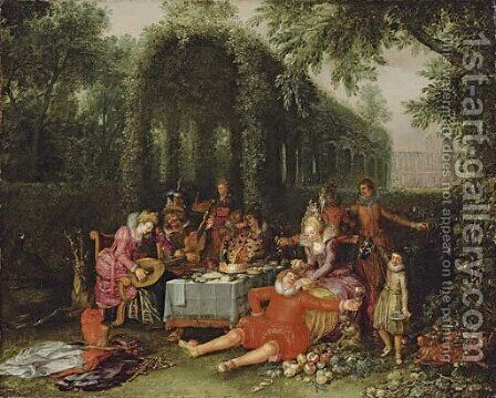 Elegant company in an ornamental garden by David Vinckboons - Reproduction Oil Painting