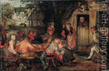 Boors merrymaking outside an inn by David Vinckboons - Reproduction Oil Painting