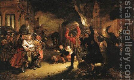 The Battle between Carnival and Lent by David Vinckboons - Reproduction Oil Painting