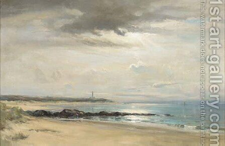 Covesea Lighthouse, Lossiemouth by David West - Reproduction Oil Painting