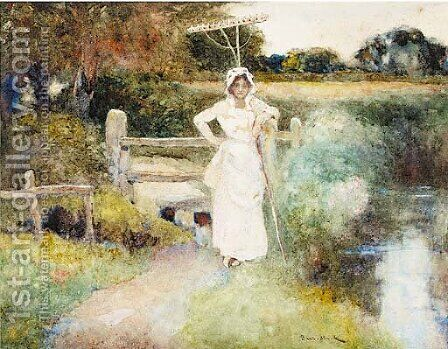 A country girl standing beside a stream holding a rake by David Woodlock - Reproduction Oil Painting