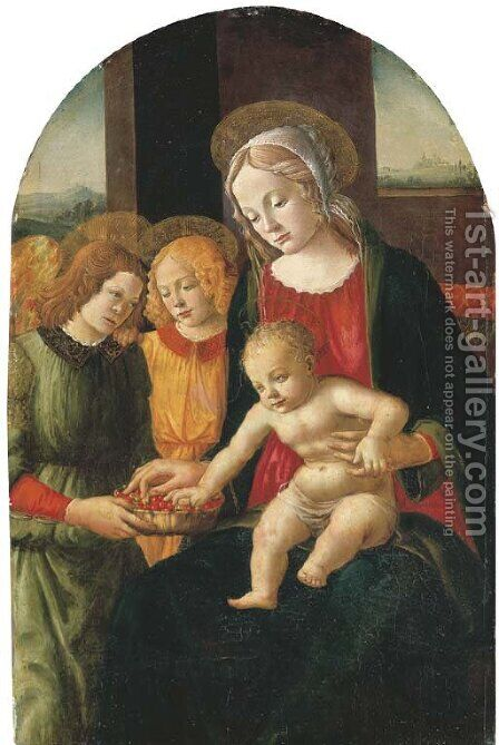 The Madonna and Child with angels, a landscape beyond by Davide Ghirlandaio - Reproduction Oil Painting