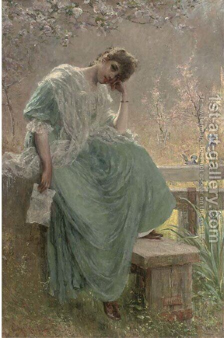 The love letter by Davidson Knowles - Reproduction Oil Painting