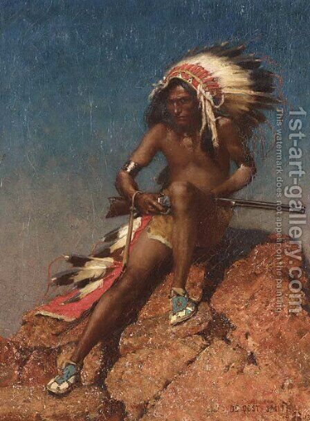 Indian Warrior by De Cost Smith - Reproduction Oil Painting